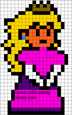 Minecraft Pixel Art Templates Princess Peach Minecraft