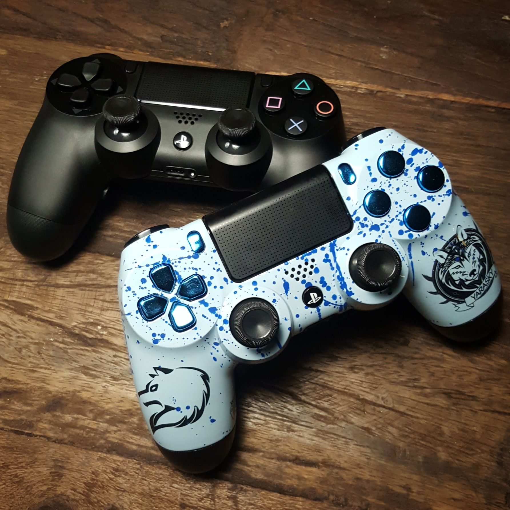 Ps4 Controller With Yarasky Design Blue Buttons Xbox One Sticks And Shock Paddles Ps4 Controller Custom Gaming Gear Playstation