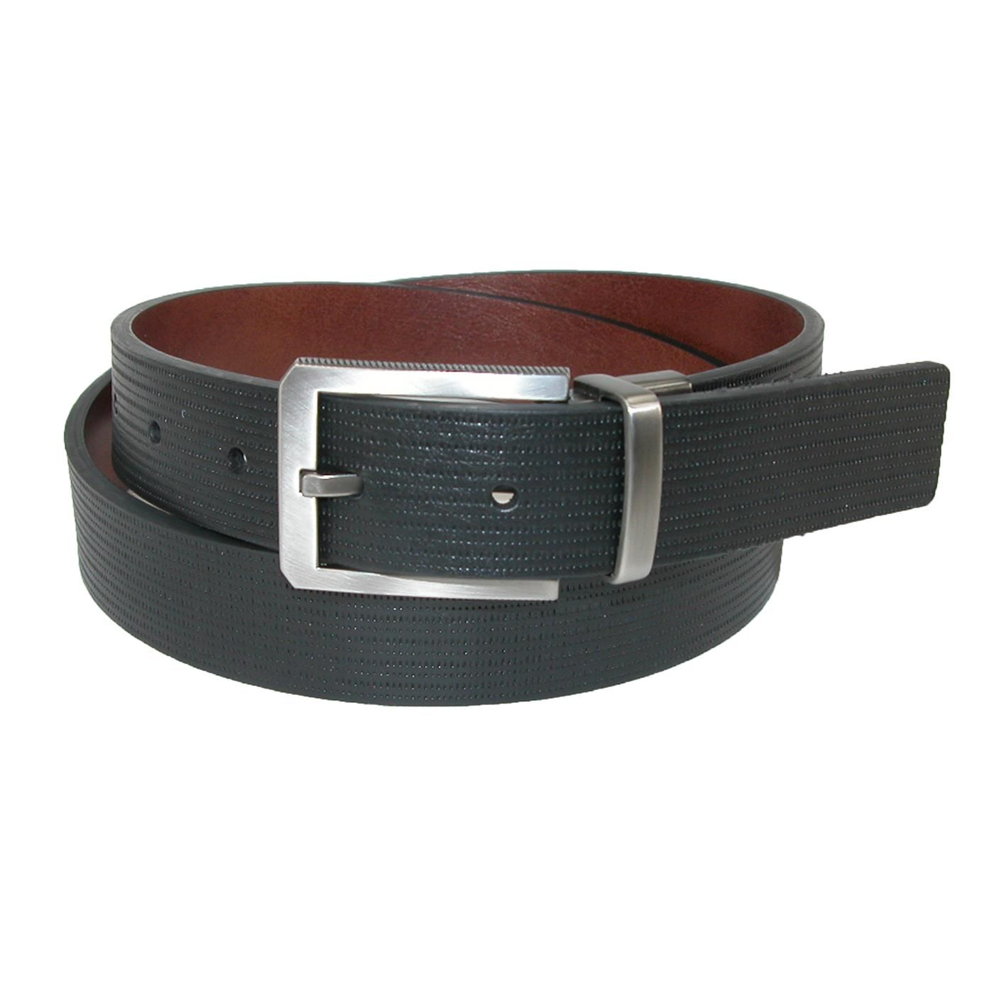 A unique cut edge bridle belt that measures 30mm wide. The brown side is smooth, and the black side has textured lines. The buckle is brushed gun metal and has ridges on the side for depth. To reverse, simply pull up on the buckle and twist.