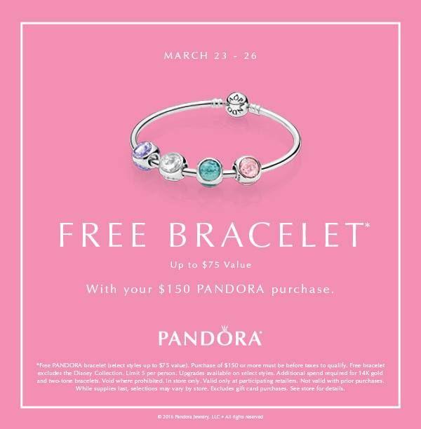 Take advantage of Pandora's Free Bracelet event. Spend $150 on ...