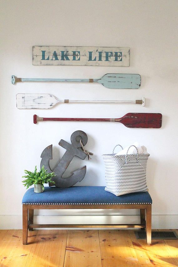 Oars wall decor set of or decorative painted nautical lake house beach  pinterest also rh