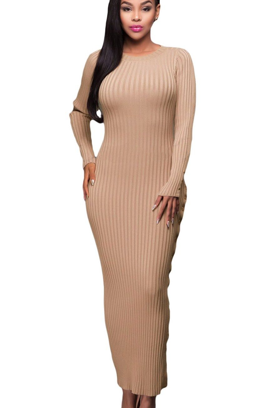 2c32686f4a0 Prix  €25.93 Robe pull Longues Abricot Or Bouton Fente Manches Longues Pas  Cher www.modebuy.com  Modebuy  Modebuy  Abricot  femme  gros  style
