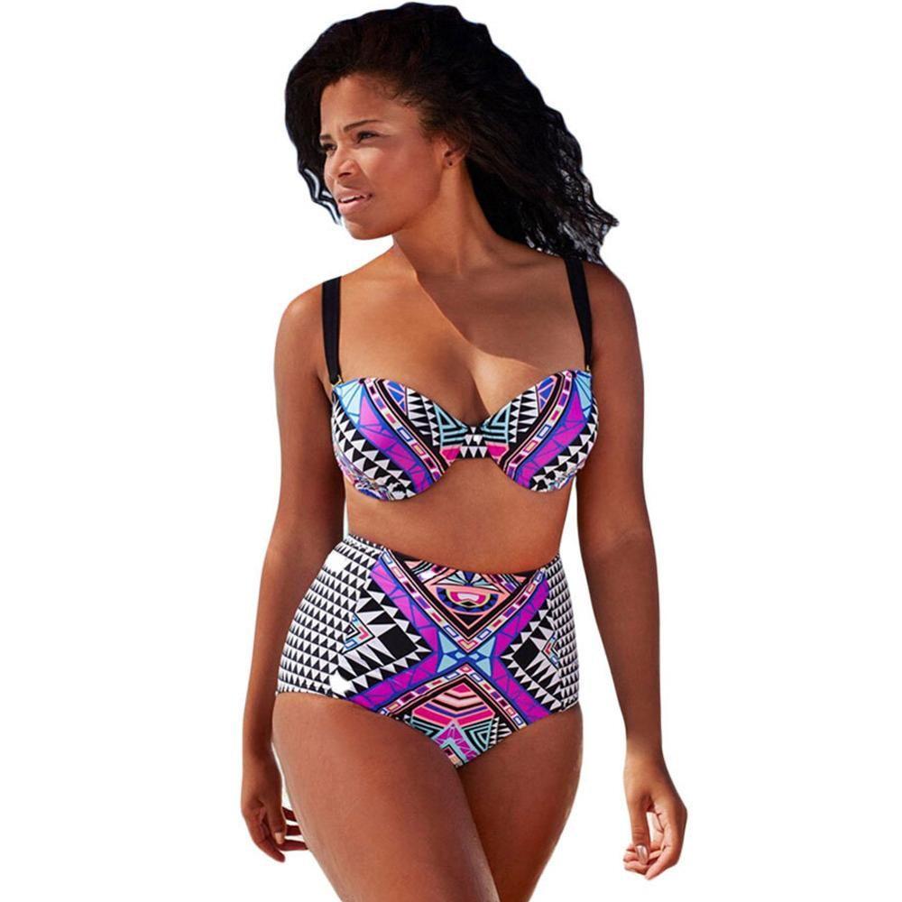 c8b440b62a New Arrival High Waisted Print Sexy Women Bikini Set Push Up Bikinis  Biquini Triangle Strappy Swimsuit Swimwear Plus Size XL-4XL