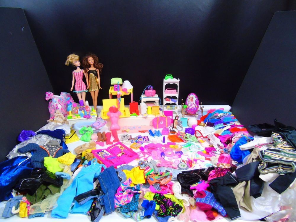 1980s 1990s Huge Lot Of Barbie Doll Clothes Accessories