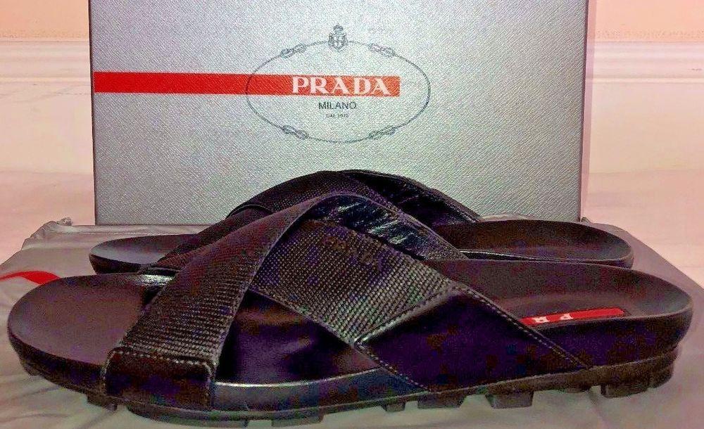 97fecc6caafb Prada Mens Nastro Nylon Black Ribbon Sandals Size 7  PRADA  FlipFlops