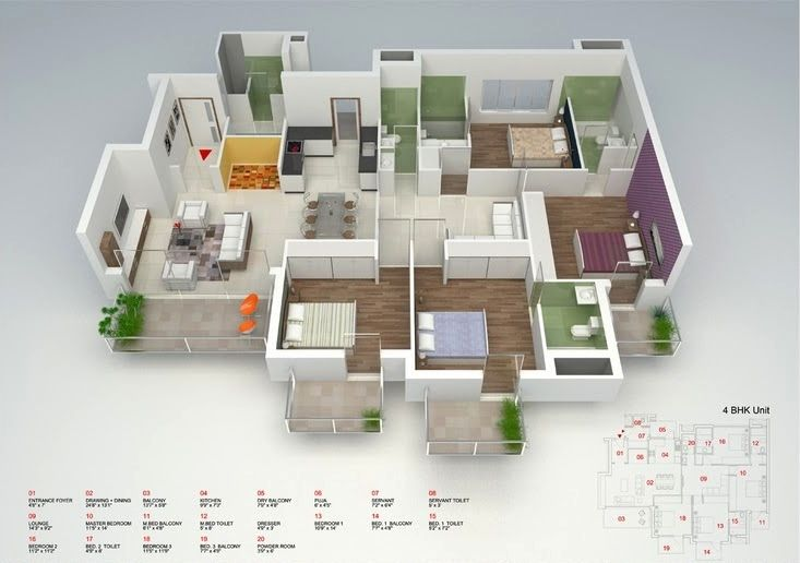 50 Four U201c4u201d Bedroom Apartment/House Plans Part 24