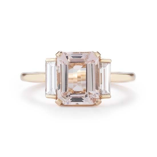 Emerald Cut Morganite Three Stone Ring Rose Gold