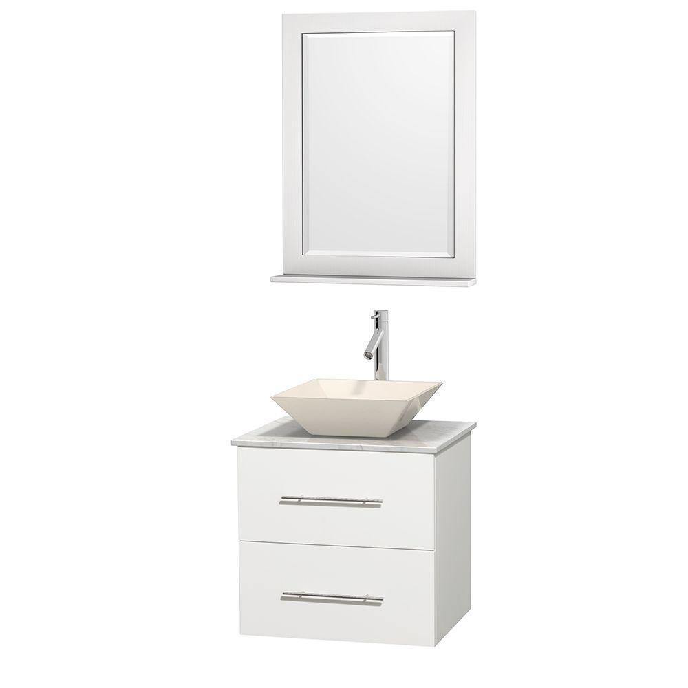 Wyndham Collection Centra 24 in. Vanity in White with Marble Vanity Top in Carrara White, Bone Porcelain Sink and 24 in. Mirror