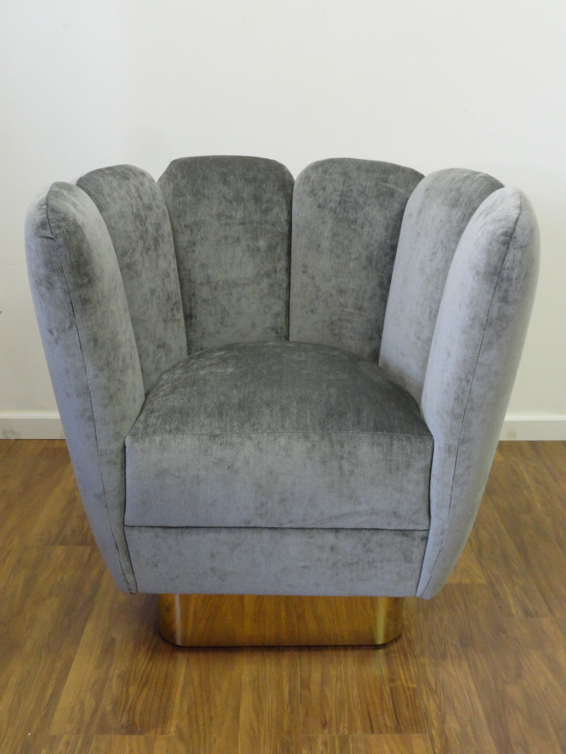 Scalloped Channel Back Swivel Chair with Brass Base and Slate