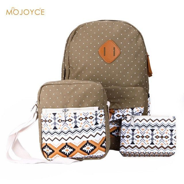 c555574b59b9 3Pcs Sets Backpack Korean Canvas Printing Women School Bags for Teenage  Girls Ethnic Back Pack Laptop Backpacks Bolsa Mochila