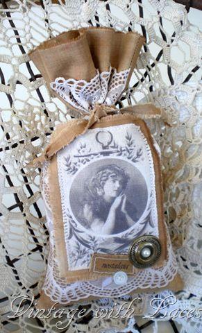 Antique Doily Lavender Sachet Home Fragrance Sachet Scented Vintage Fabric Sachet