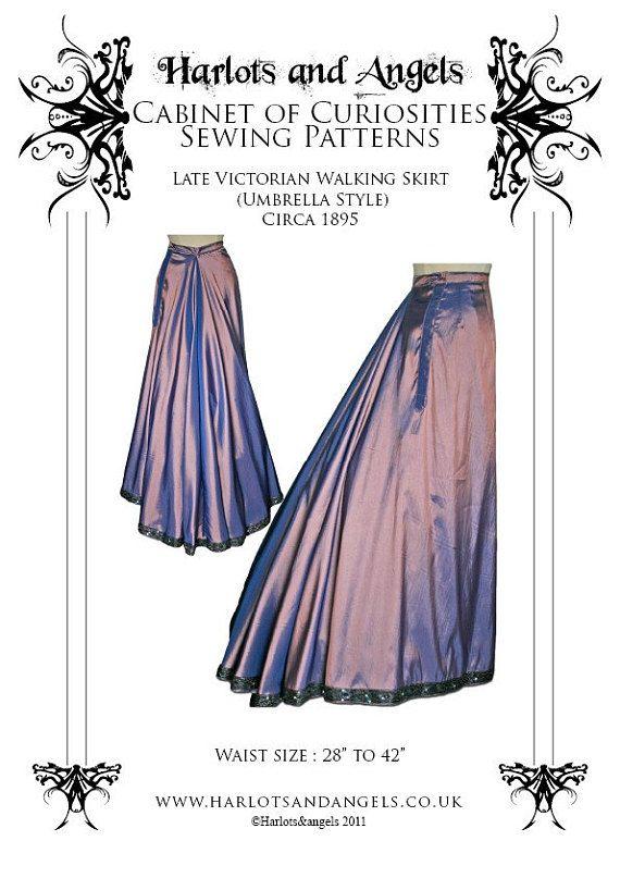 Victorian skirt Sewing Pattern, Steampunk, Cosplay, wedding, 24\
