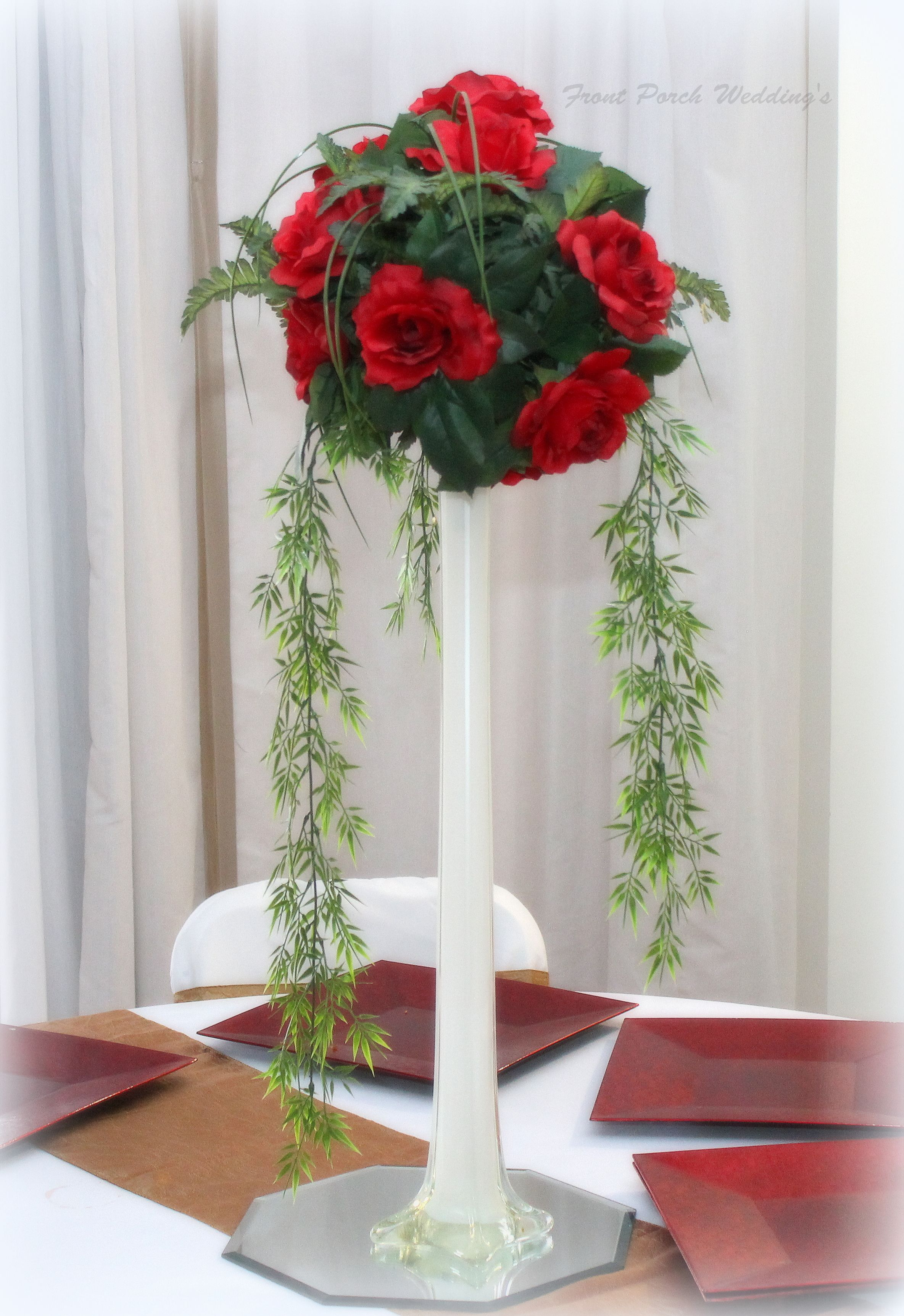 Venue Tall red centerpiece | Wedding Centerpieces and floral decor ...