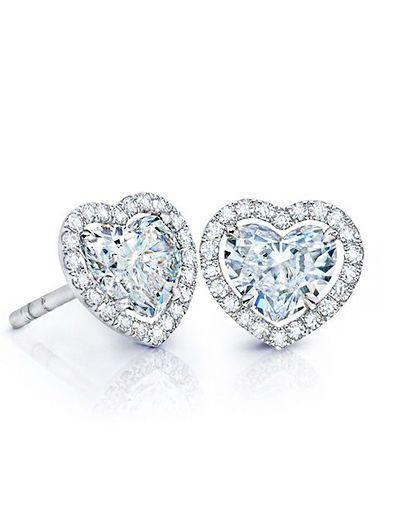 Heart Shaped Diamond Stud Earrings