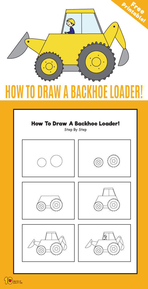 How to Draw a Backhoe Loader – 10 Minutes of Quality Time