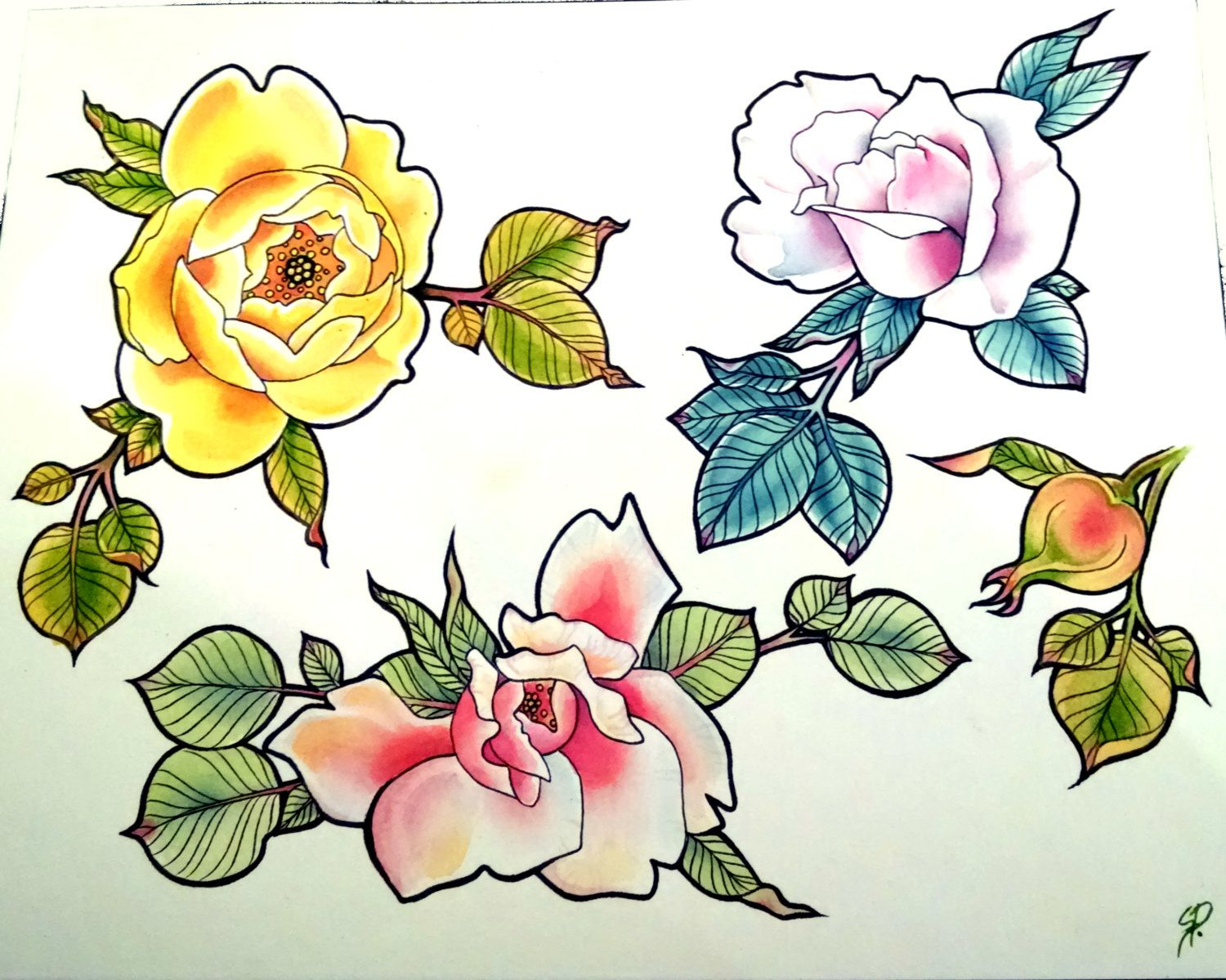 A Rose Tattoo Tattoo Flash Sheet Watercolor Painting By
