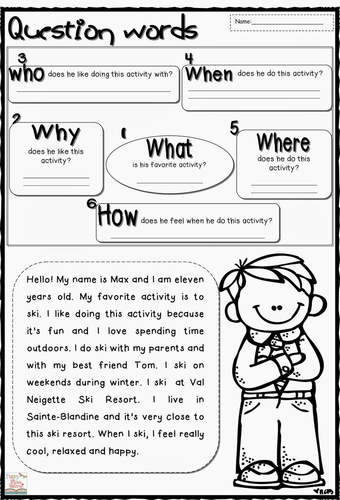 Worksheets Wh Words : Funny miss valérie question words reading pinterest
