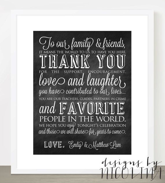 Thank You Favor Table Sign Customized With Your Names Wedding Decor