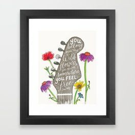 You belong among the wildflowers Tom Petty quote Watercolor guitar illustratio  You belong among the wildflowers Tom Petty quote Watercolor guitar illustration Hand lette...