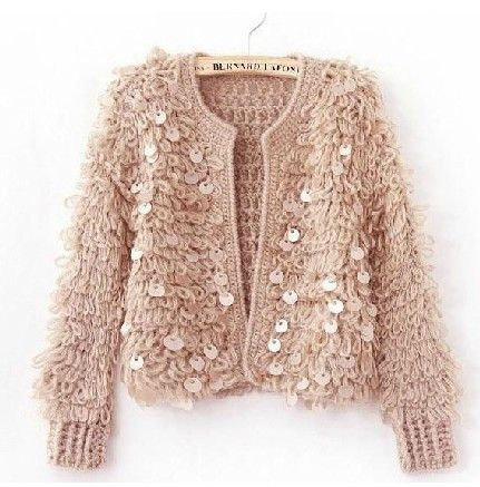 Free Shipping New Arrival Women's Blouse Short loose sweet Cardigan Sequin Jakcet Wholesale Free Size Several colors LI410