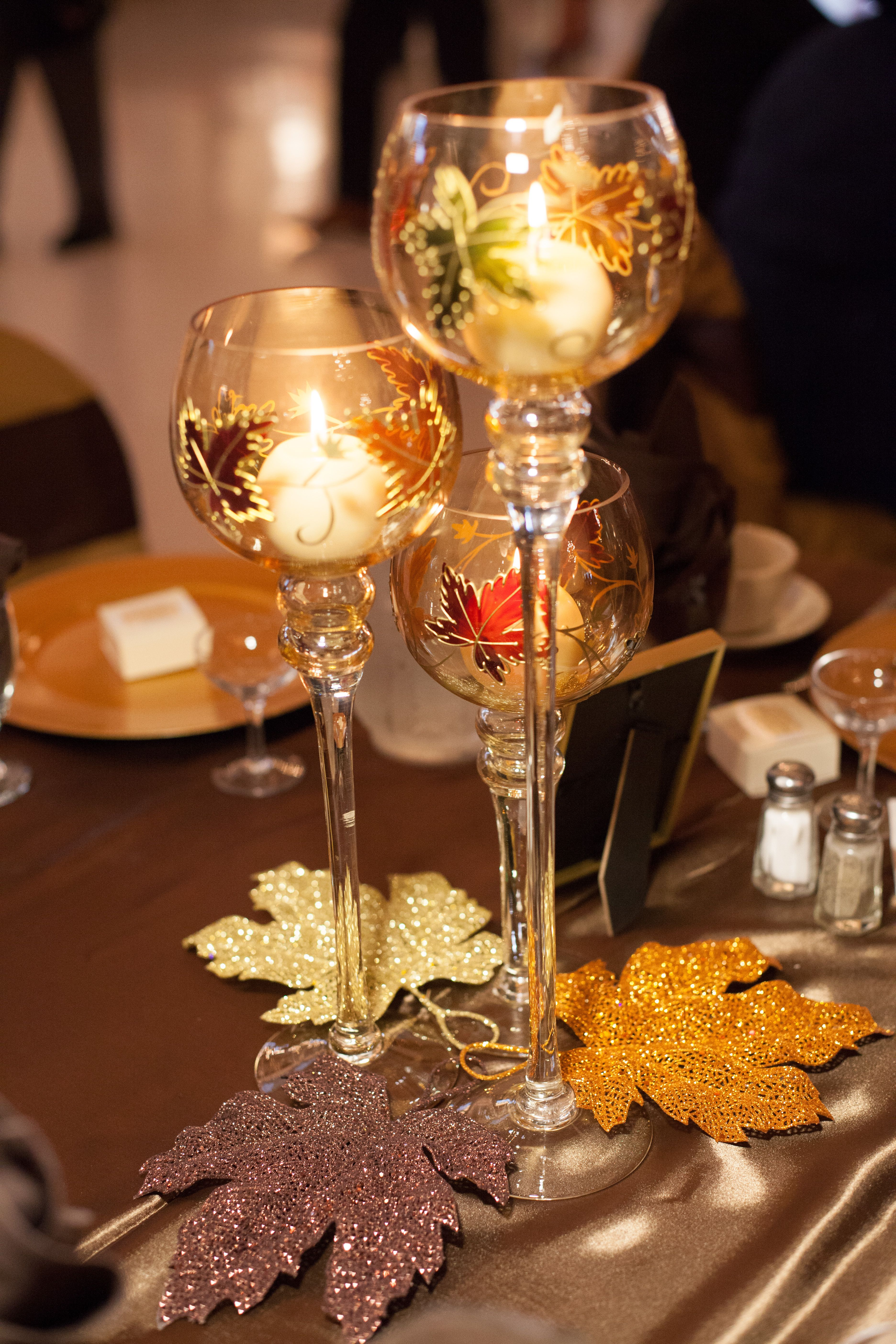 Fall Wedding Table Centerpieces- We got these goblet trios ...