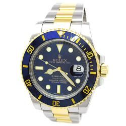I'd start wearing a watch for this. Pre-owned New Style Rolex 18k Yellow Gold and Stainless Steel Oyster Perpetual Submariner Date Watch