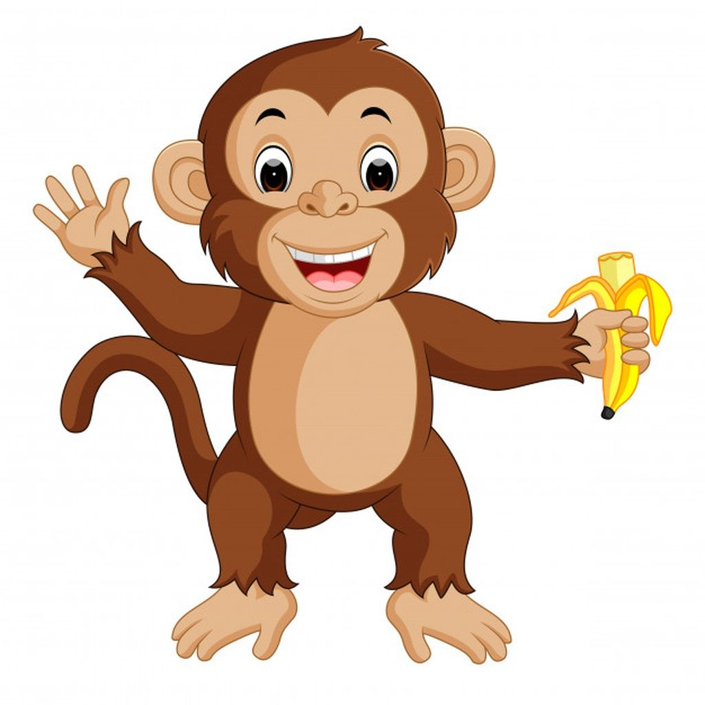 Cute Monkey Cartoon Eating Banana Paid Paid Ad