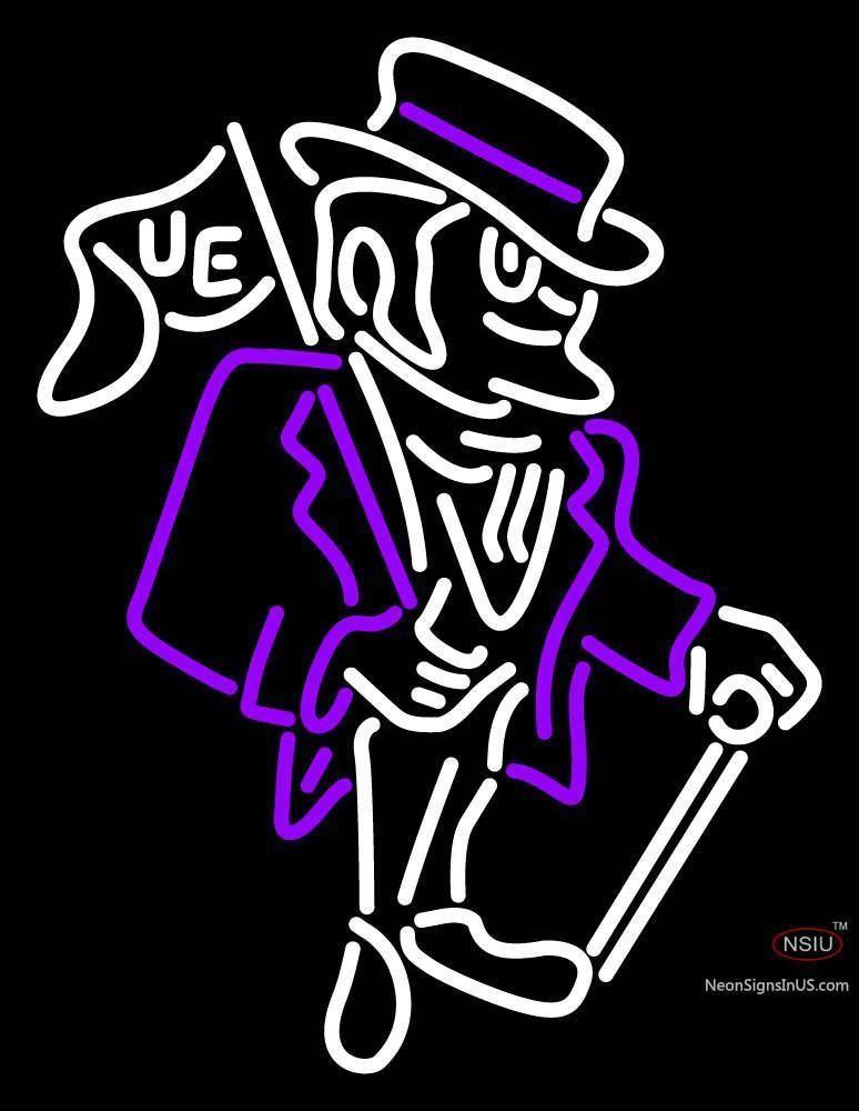 Evansville Purple Aces Primary 77 Logo NCAA Real Neon