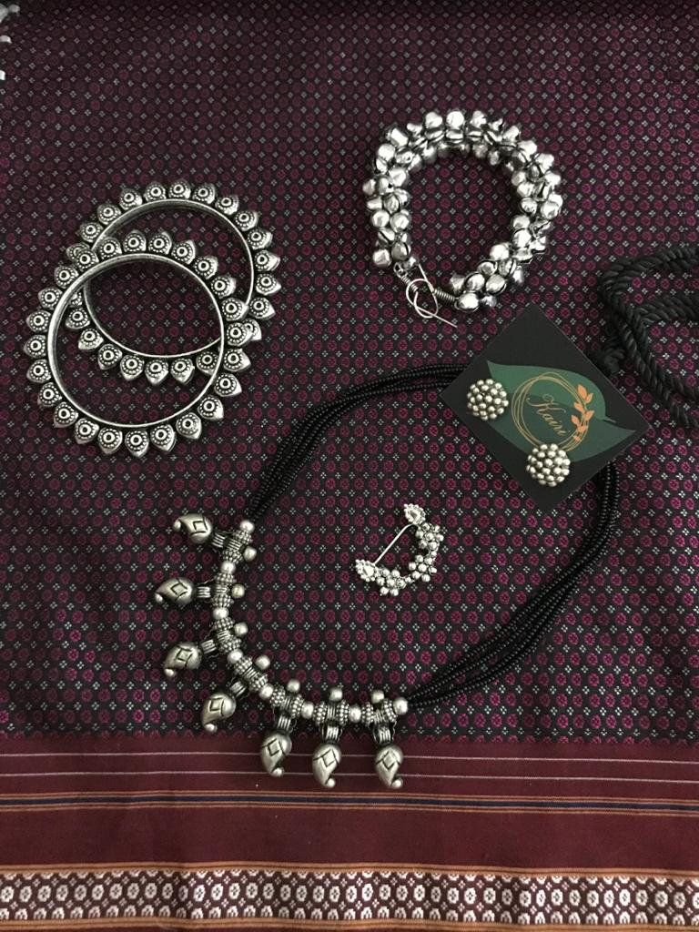 earrings Bollywood Jewelry Indian Traditional Jewellery Oxidized handmade Maharashtrian 3 layer necklace Women bangles and nath