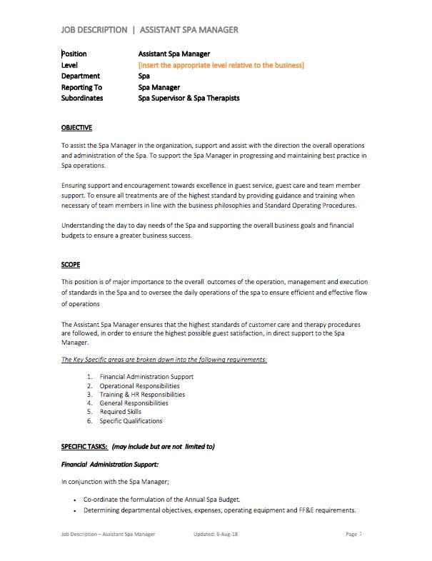 Assistant Spa Manager Job Description