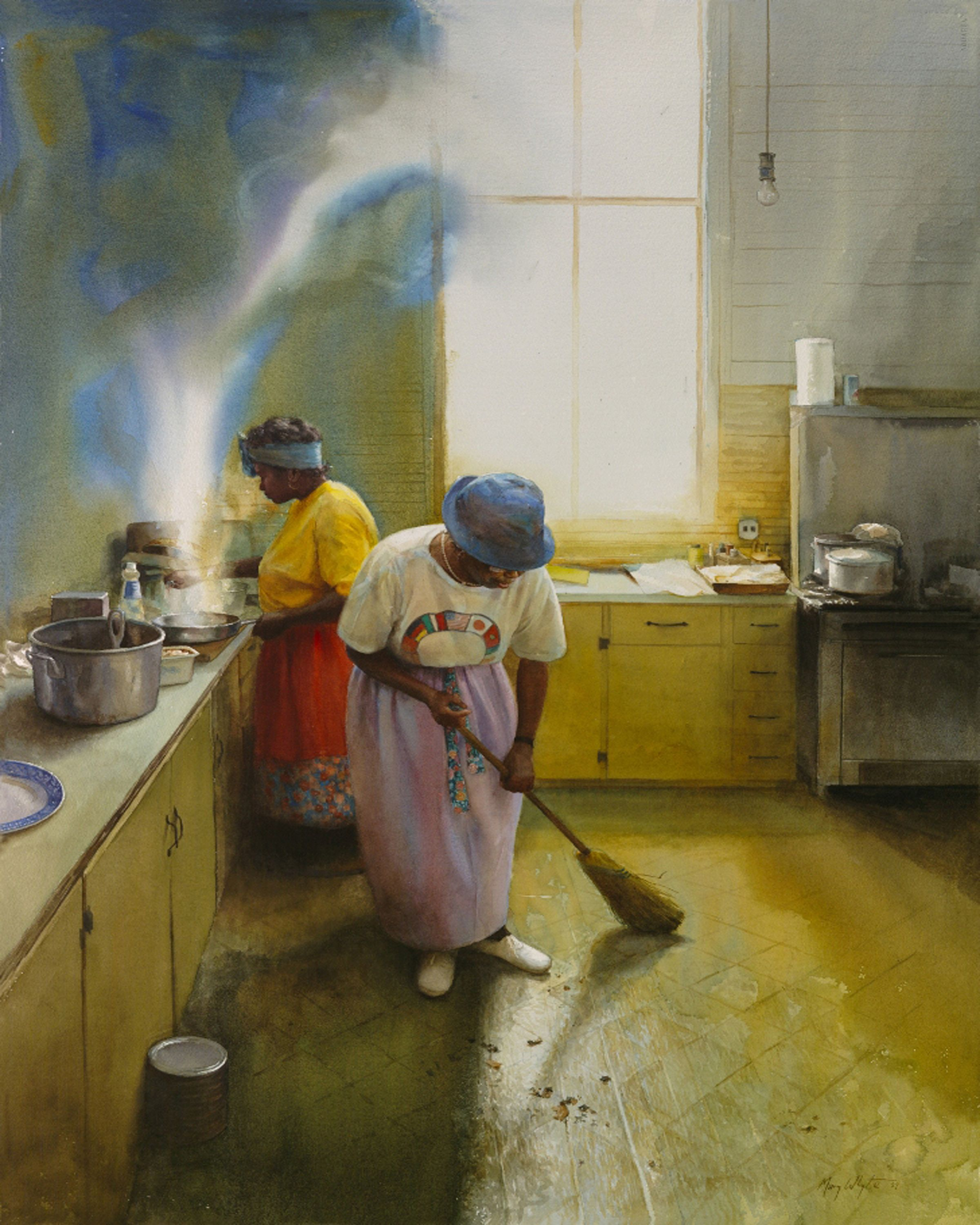 Watercolor books by mary whyte -  Wednesday Chores Watercolor On Paper 2004 By Mary Whyte