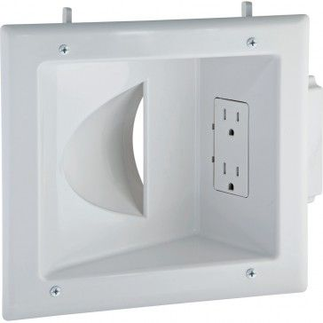 Recessed Wall Plate For Low Voltage Data Cables With Duplex Electrical Outlet Plates On Wall