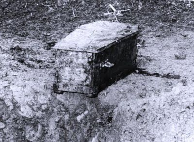 """Picture of Charlie Chaplin's coffin that was sent to his family after grave-robbers stole it demanded a ransom. The robbers were eventually caught and charged with extortion """"disturbing the peace of the dead""""...."""