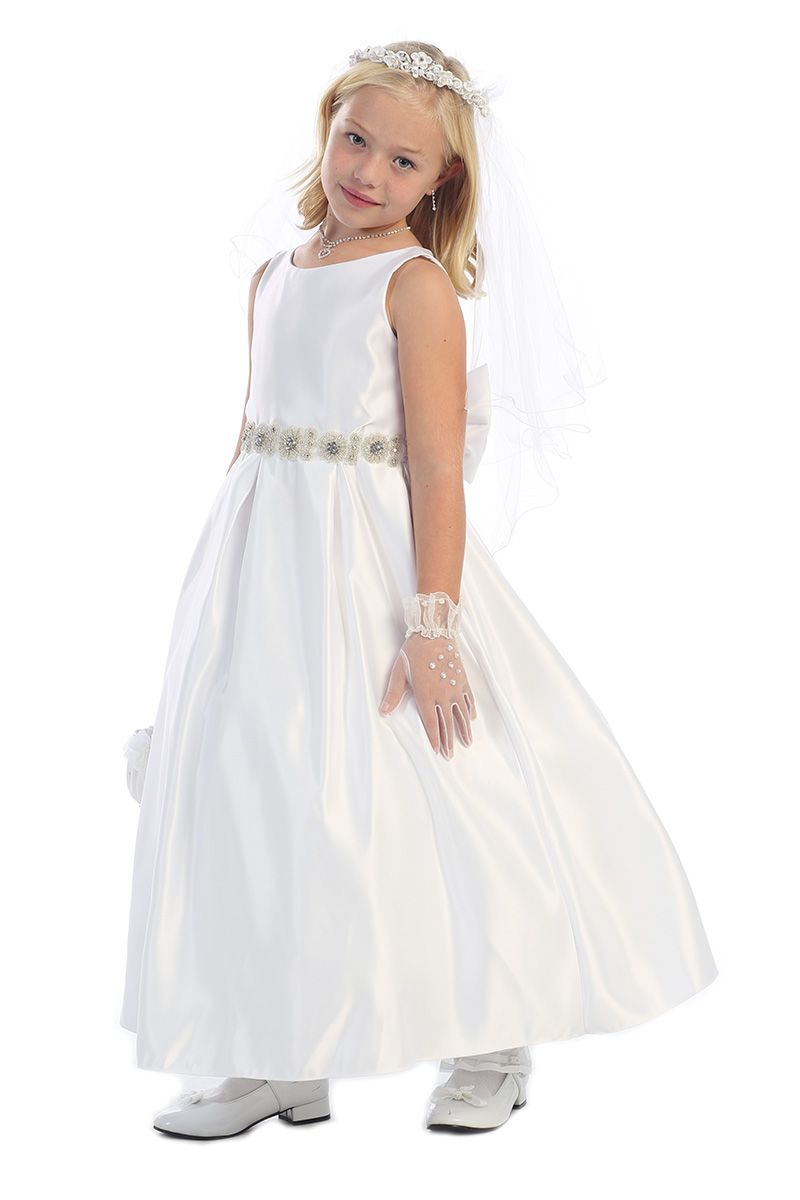 White Satin Pearl Beaded Communion Girl Dress Cd 587 Wh Cd 587