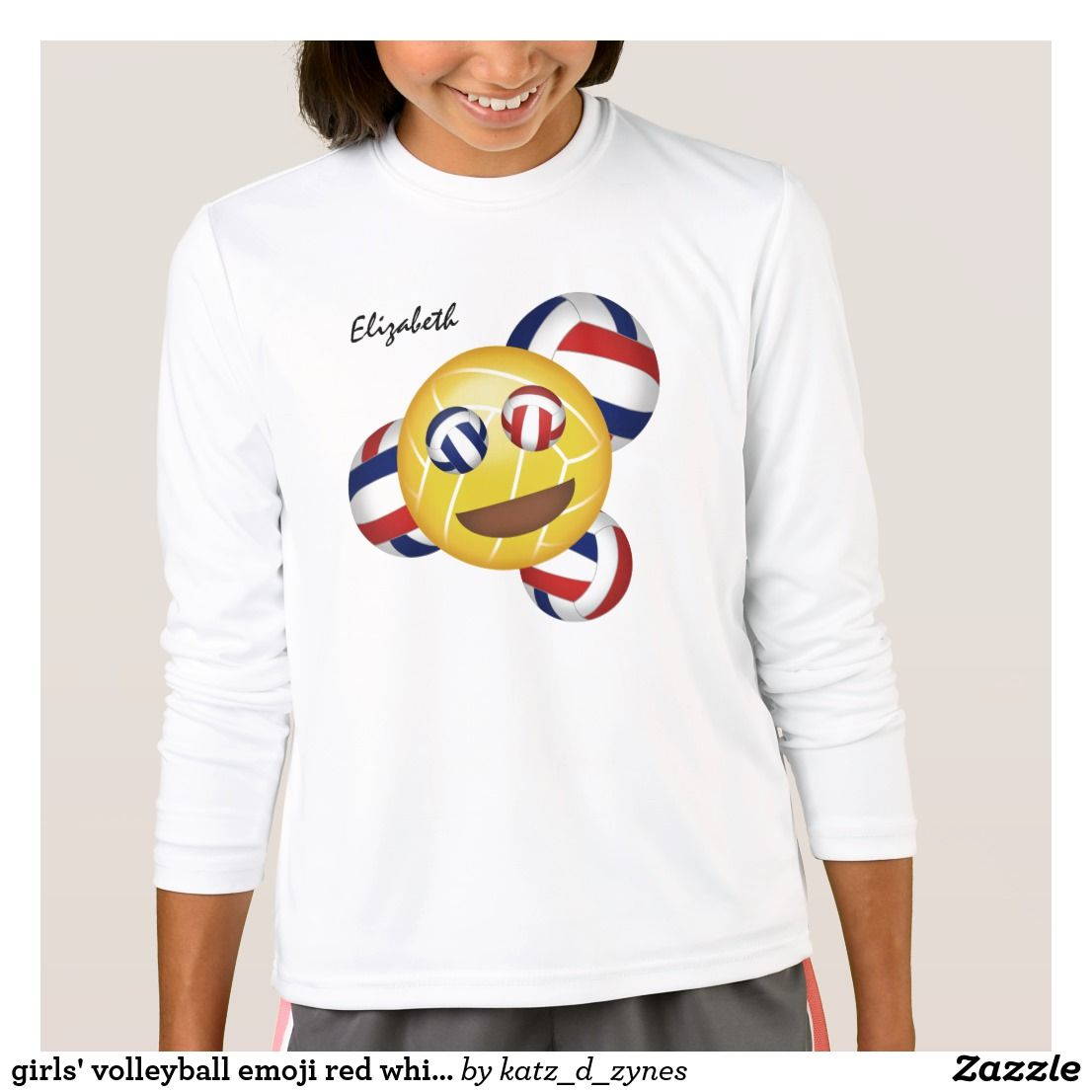 Girls Smiling Volleyball Emoji Red White And Blue T Shirt Zazzle Com T Shirt Flowers Eclipse Clothing Shirt Nature