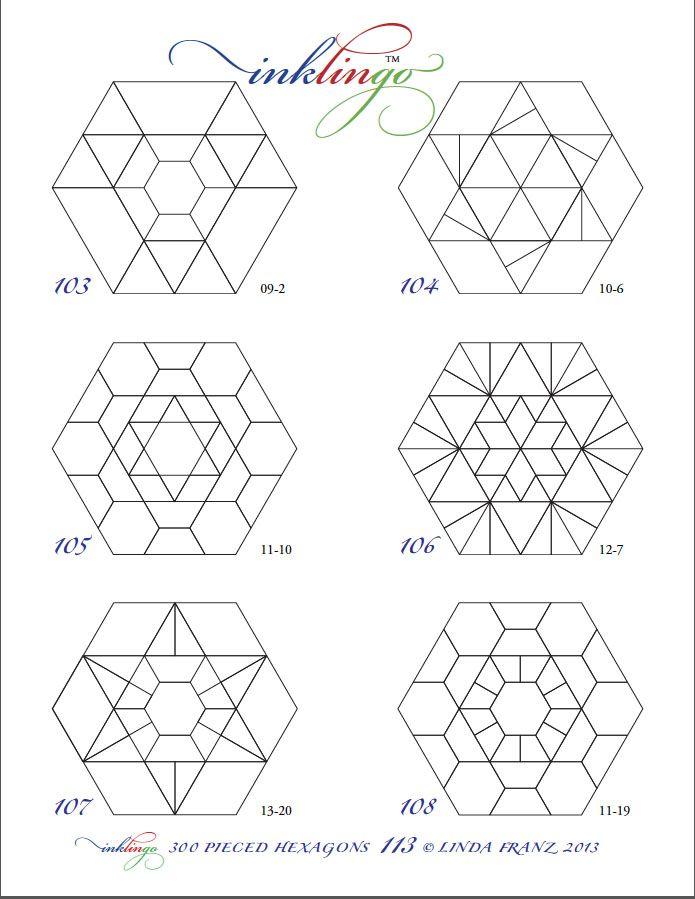 Pieced Hexagon Line Drawing | Caminos de mesa, Caminos y Mesas
