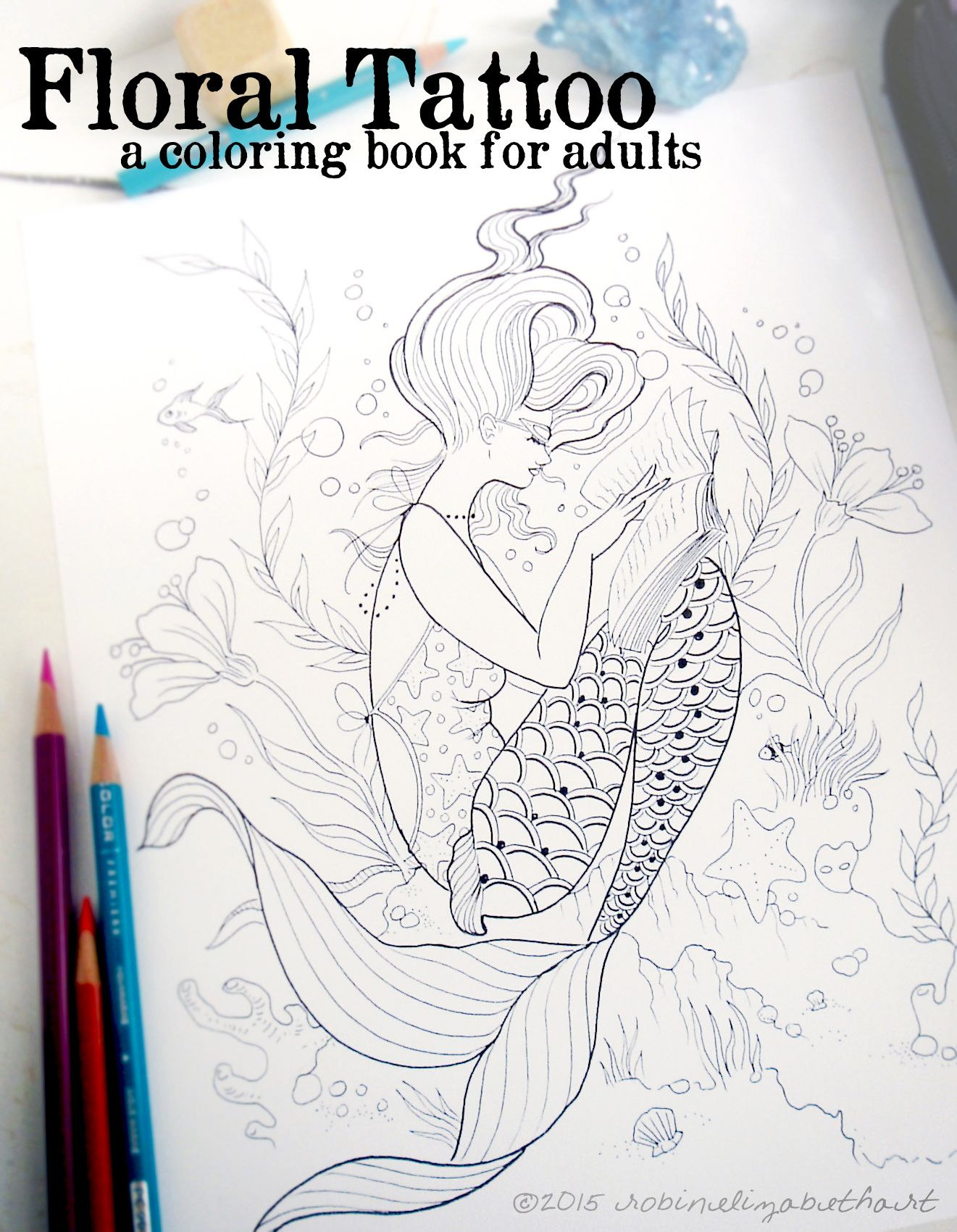 Whimsical Tattoo Inspired Illustrations Spiral Bound On Thick Paper Waiting For You To Color Coloring Pages