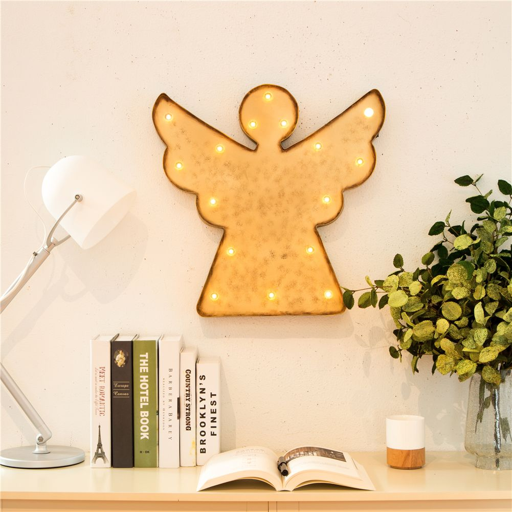 Marquee LED Lighted Angel Sign Wall Decor Battery Operated ...