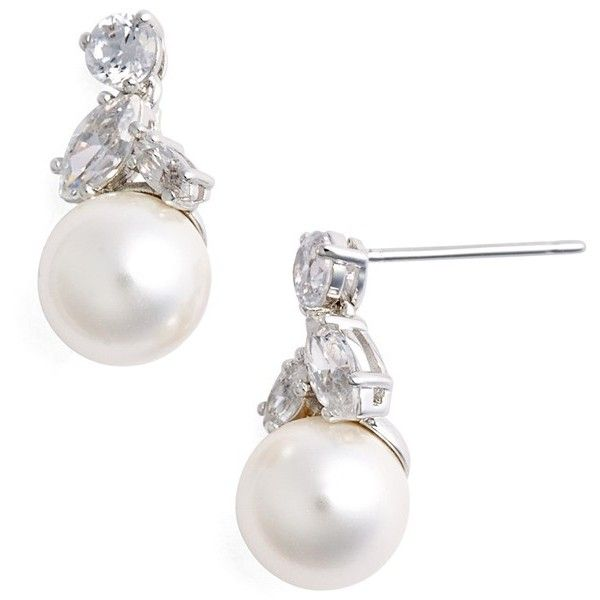 f1f400b05 Nadri Faux Pearl & Cubic Zirconia Drop Earrings ($35) ❤ liked on Polyvore  featuring