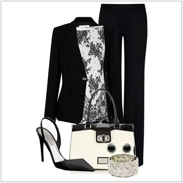 CHATA'S DAILY TIP: Instantly update your classic black pants suit with a fashionable printed blouse. Opt for an elegant sling-back heel to instantly elongate your leg. Complete this chic ensemble with a gorgeous two-tone bag and a touch of bling, a stunning bracelet. COPY CREDIT: Chata Romano Image Consultant, Karyn Lindes http://chataromano.com/consultant/karyn-lindes/ IMAGE CREDIT: Pinterest