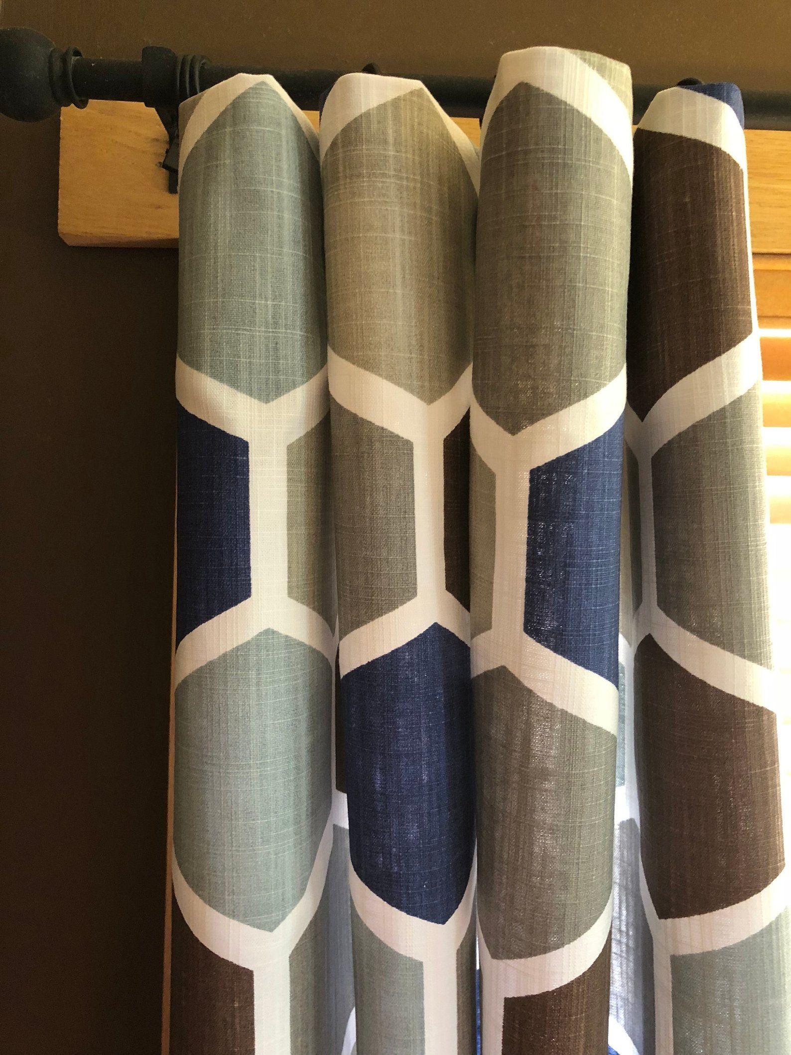 Hexagon Regal Blue Light Blue Grey Taupe Brown Curtains