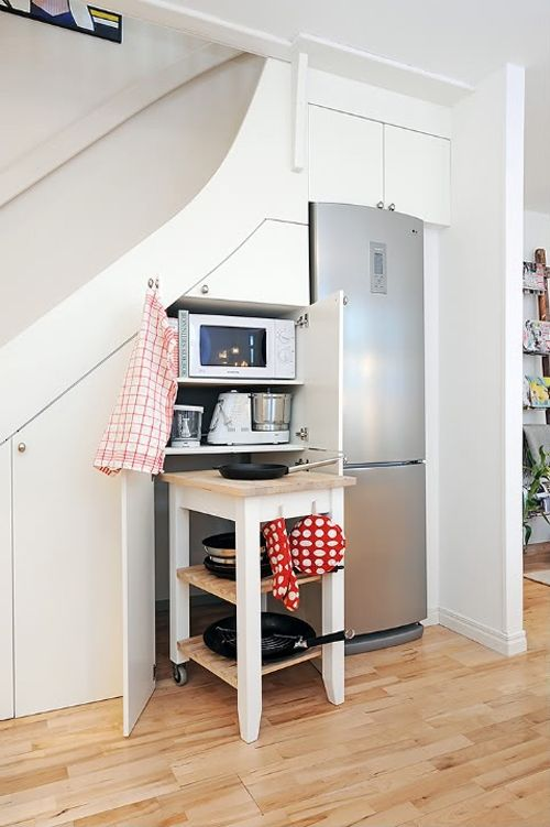 55 Amazing Space Saving Kitchens Under The Stairs Space Saving
