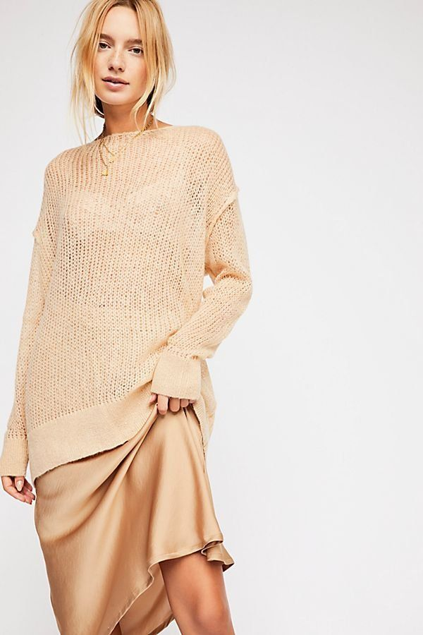 Transparent Crew Sweater , Almond Colored Cozy Long Sleeve Long Line Crew  Neck Sweater , Oversized Fall Sweaters