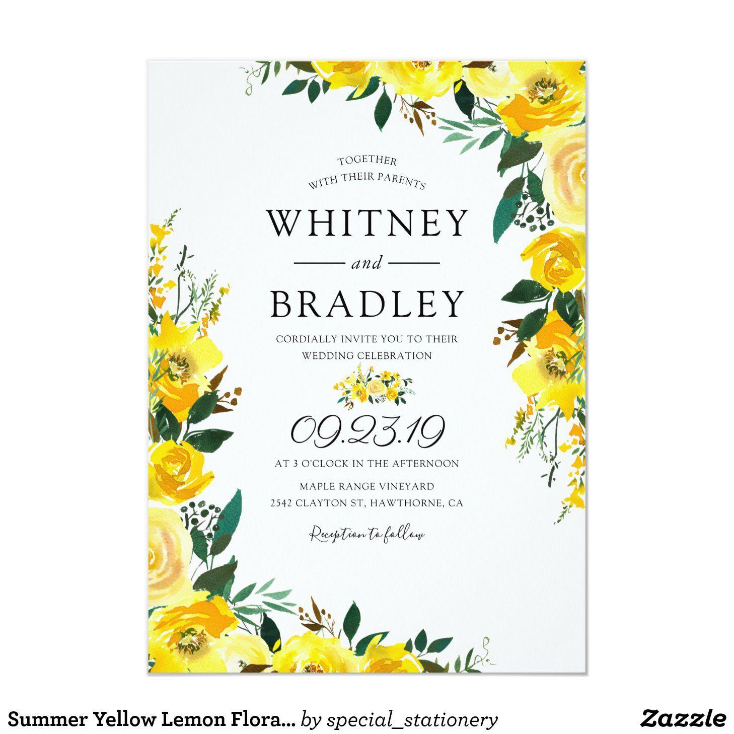 Summer Yellow Lemon Floral Wedding Invitation Zazzle Com Floral Wedding Invitations Floral Wedding Wildflower Wedding Invitations
