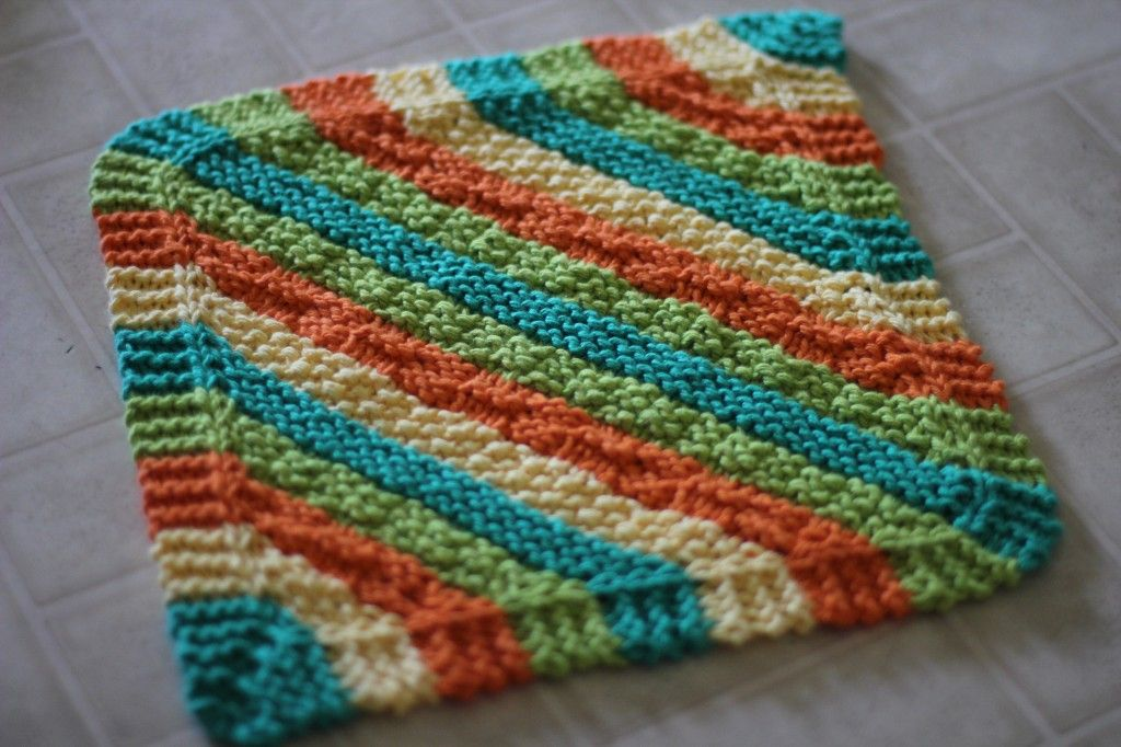 Contemporáneo Dishcloth Knitting Patterns Diagonal Ilustración ...