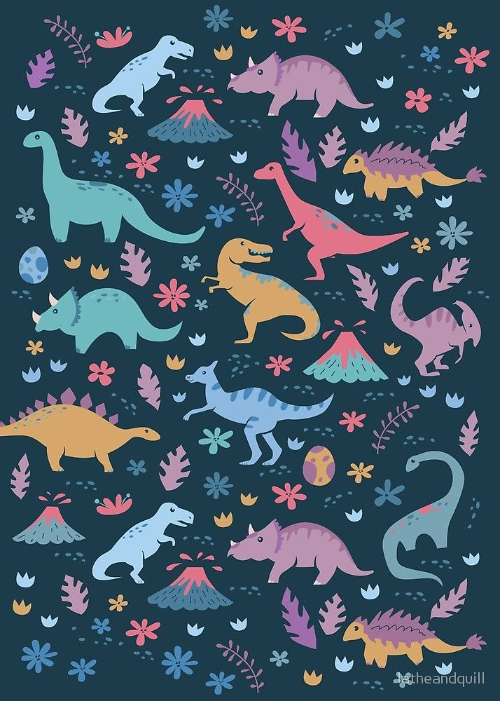 'Dinosaur Pattern with Flowers and Volcanoes ' by latheandquill