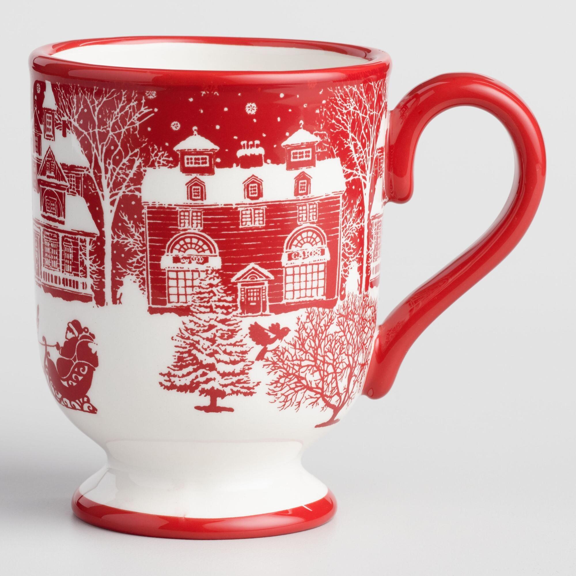 Winter Scene Santa Mug Set of 4: Red/White by World Market ...