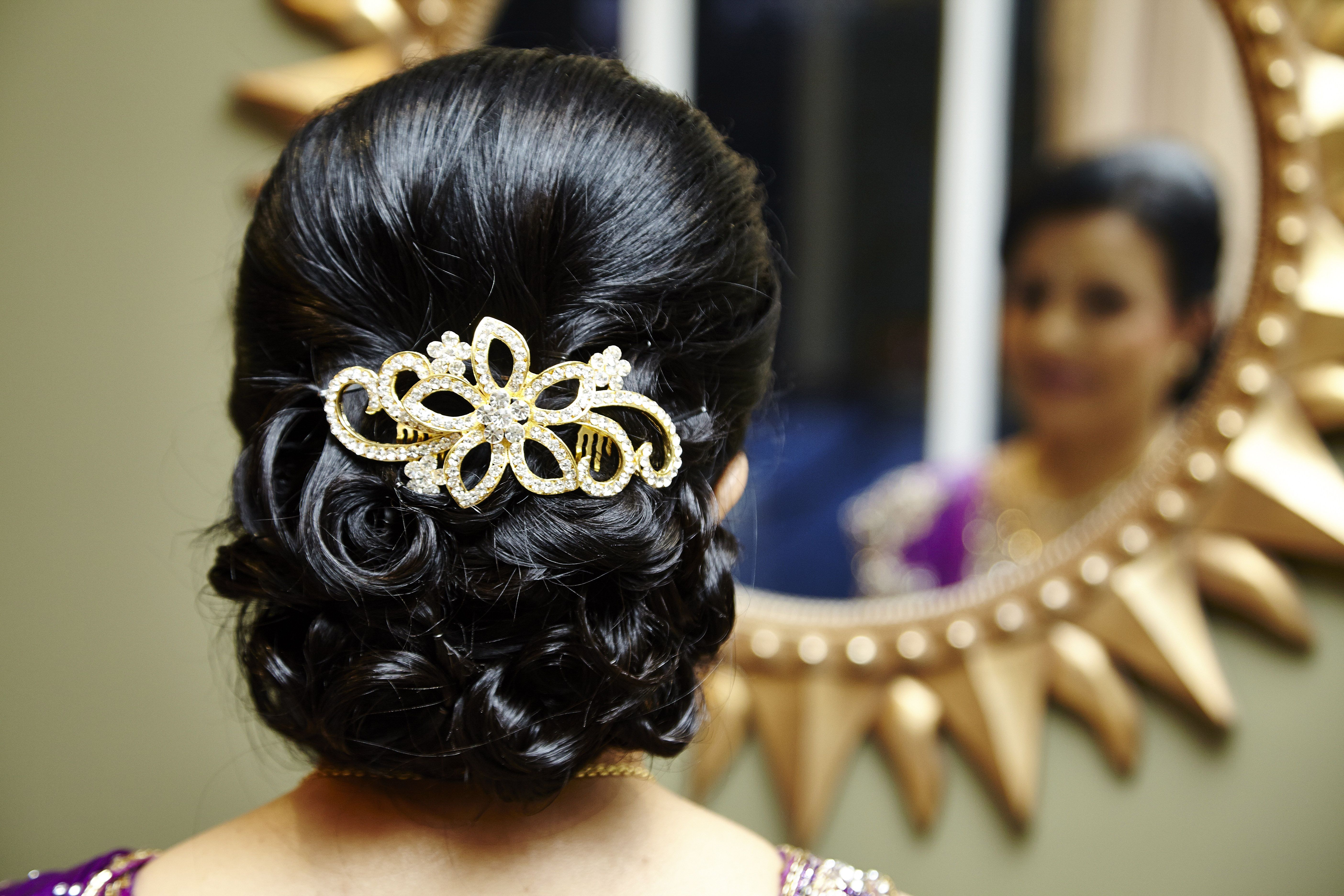 Hairstyle Mother Of The Bride Gold Diamond Hairclip Updo