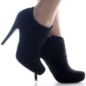 Black Suede Bootie Ruffle Stiletto High Heel Dress Womens Ankle ...