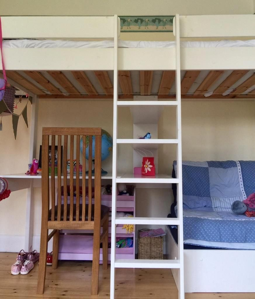 Children S Bunk Bed With Desk With A Chair That Folds Out To Become